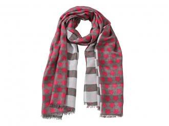 Комплект шал, часовник и шнола в червено