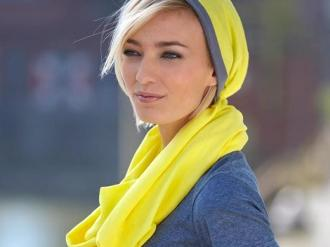 Цветен комплект от шал и шапка