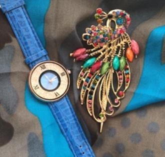 Комплект шал, часовник и шнола в синьо