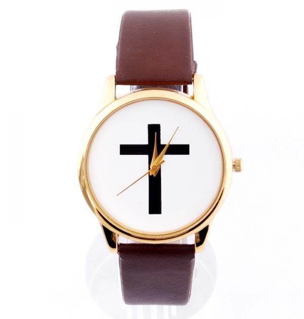 Кафяв часовник с кръст