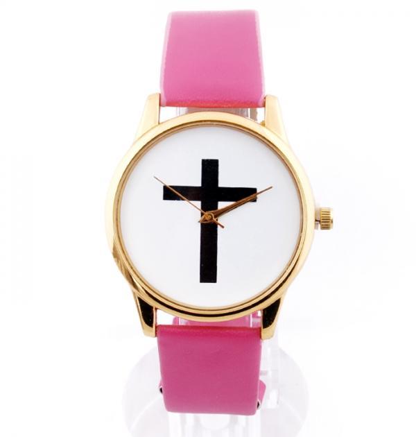 Розов часовник с кръст