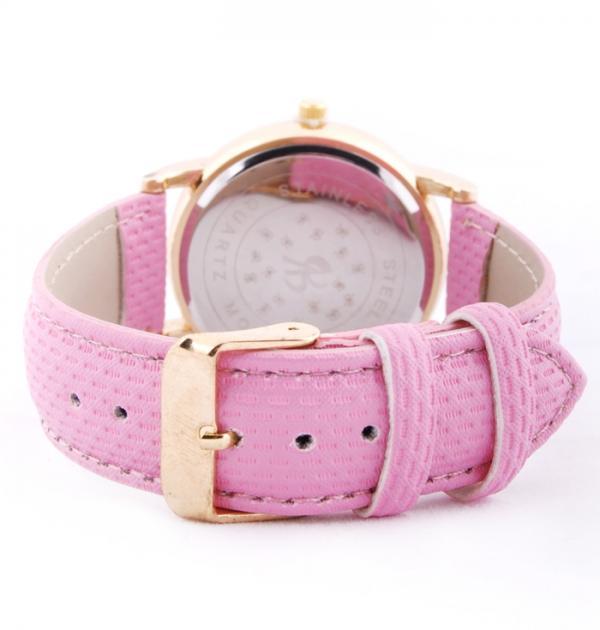 Елегантен часовник с розова каишка