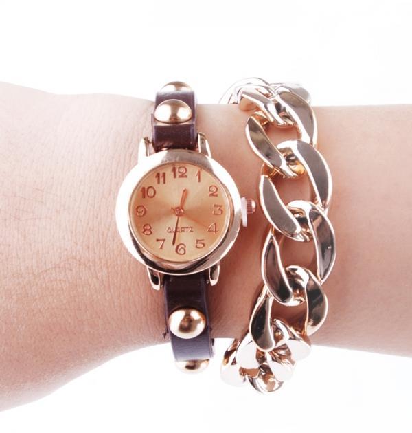 Часовник - гривна с кафява каишка