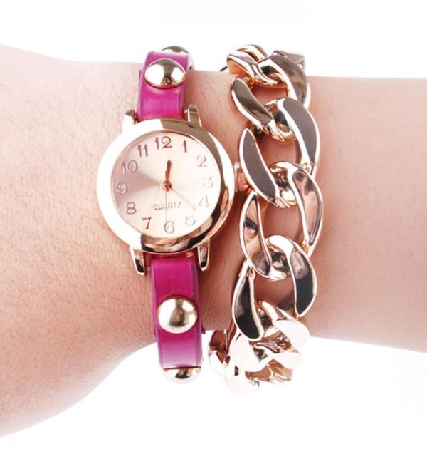 Часовник - гривна с розова каишка