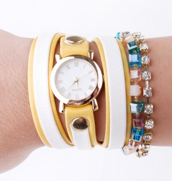 Часовник - гривна с камъни