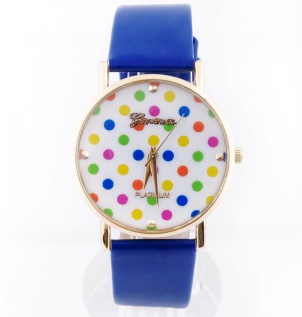 Син часовник с цветни точки