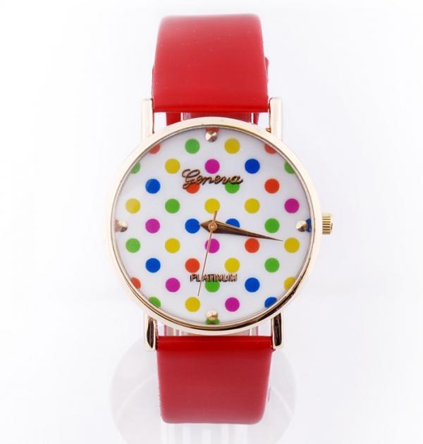 Червен часовник с цветни точки