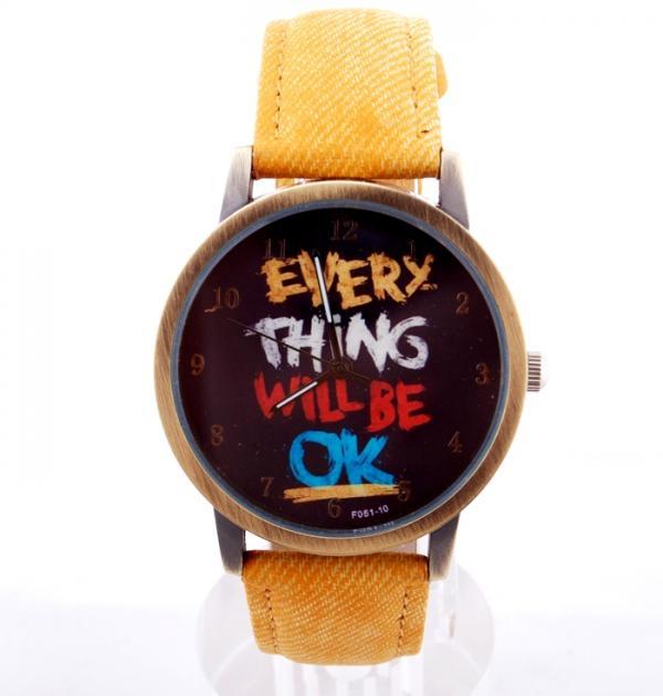 Жълт часовник с надпис