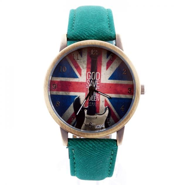 Тюркоазен часовник с британското знаме