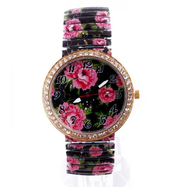 Часовник с флорална каишка