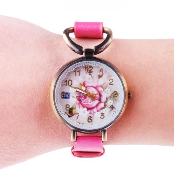 Розов часовник-гривна с роза