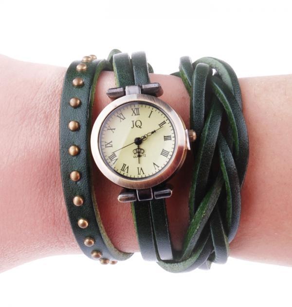 Зелен часовник-гривна с капси