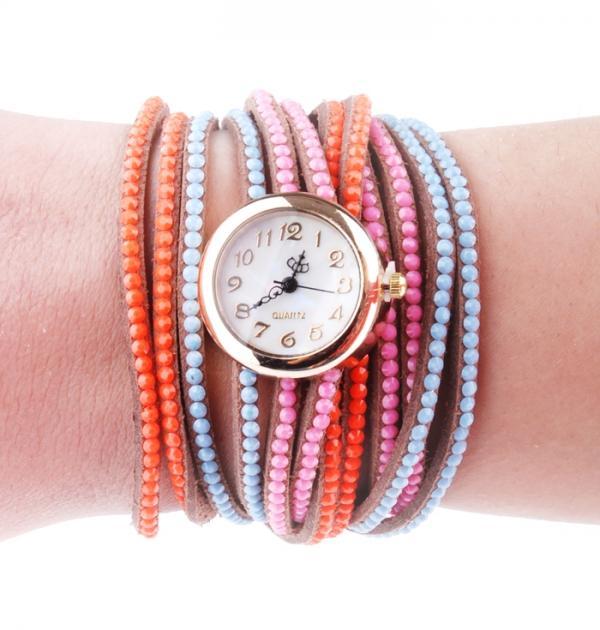 Часовник с оранжево-синя каишка и мъниста