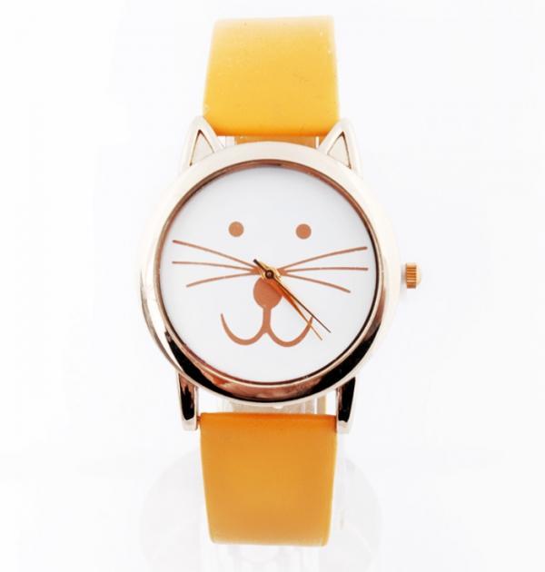 Жълт часовник с коте