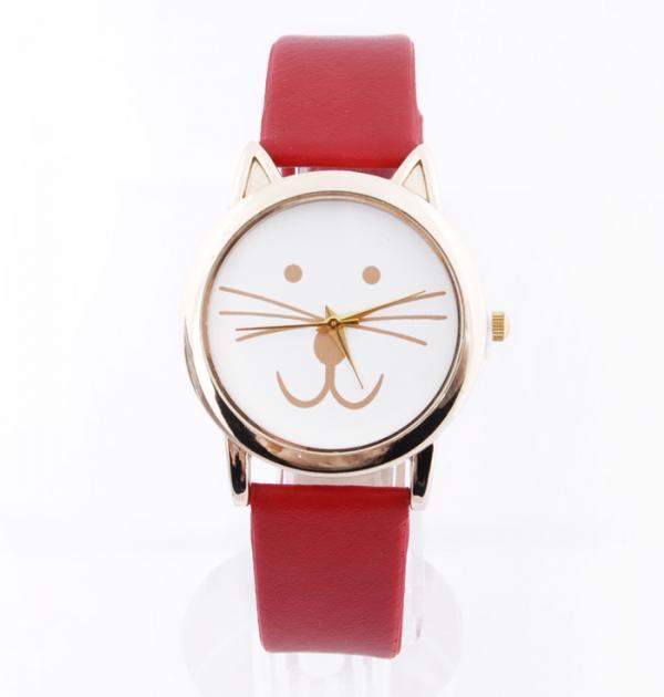 Червен часовник с коте