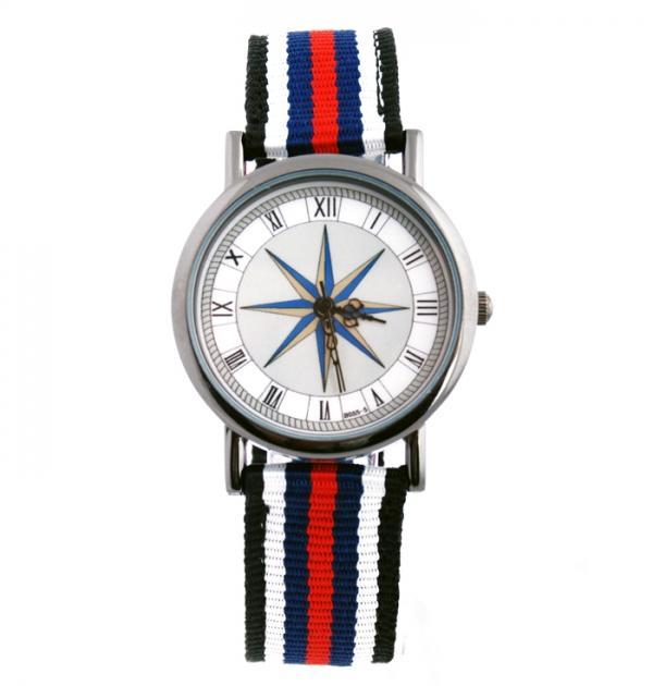 Спортен часовник със синьо-червени раета