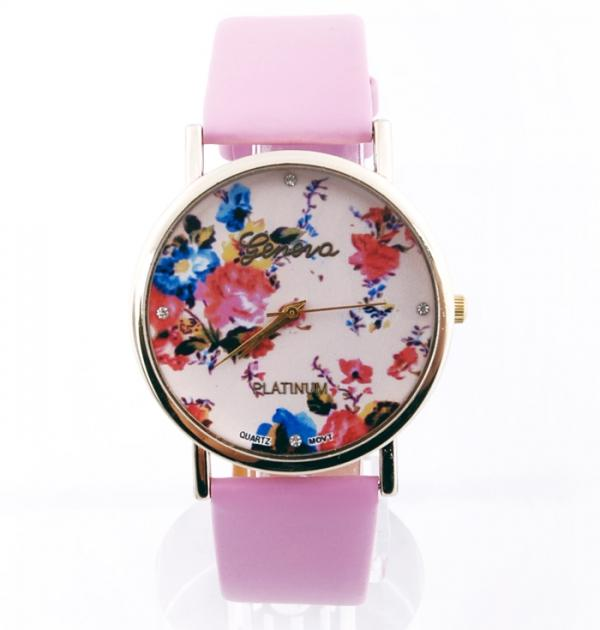 Стилен розов часовник с цветя