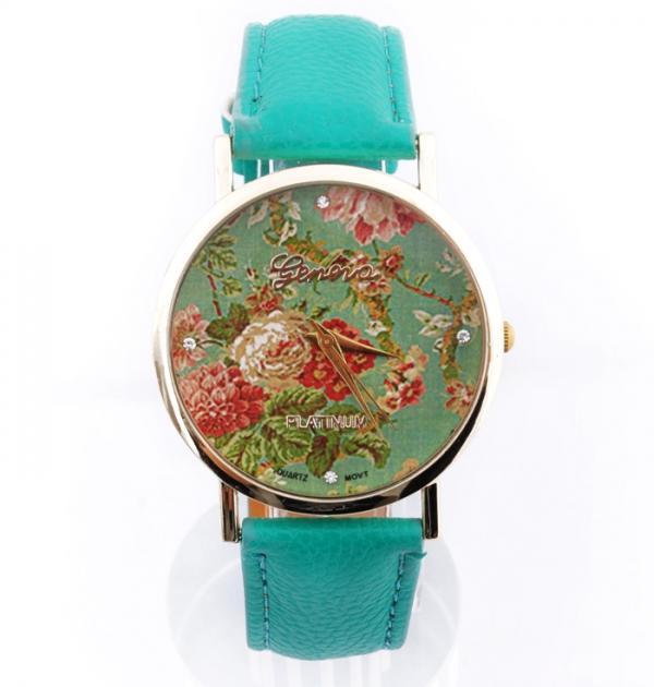 Стилен тюркоазен часовник с цветя