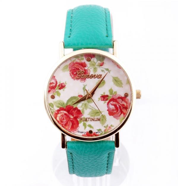 Стилен тюркоазен часовник с рози