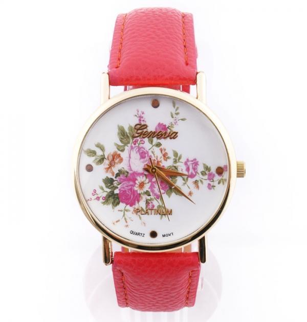 Розов часовник с флорални мотиви