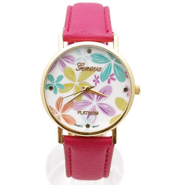 Розов часовник с цветя