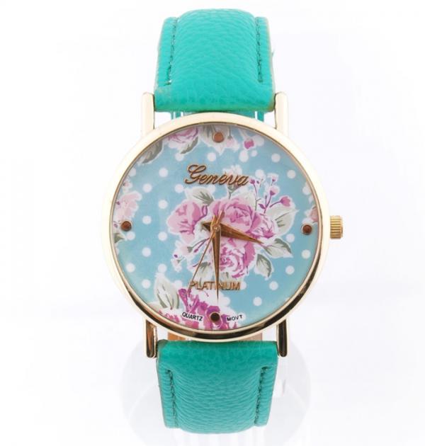 Тюркоазен часовник с цветя