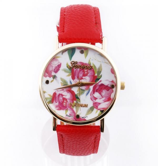 Червен часовник с цветя