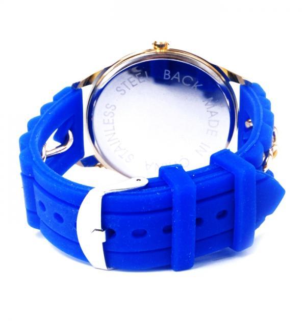 Син часовник със силиконова каишка