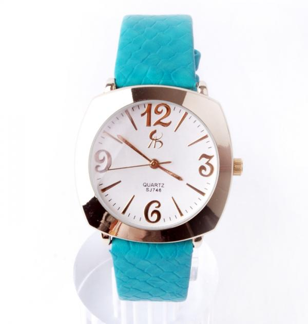 Стилен дамски часовник с тюркоазена каишка