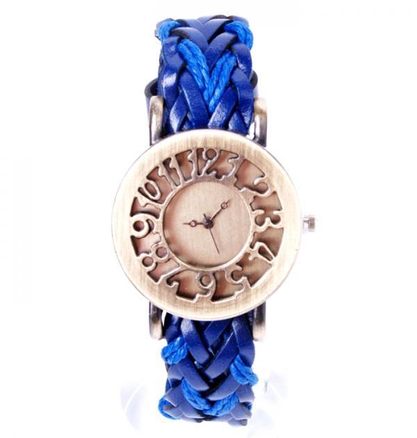 Плетен тъмно син часовник