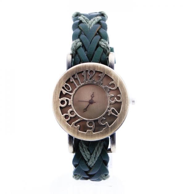 Плетен тъмно зелен часовник