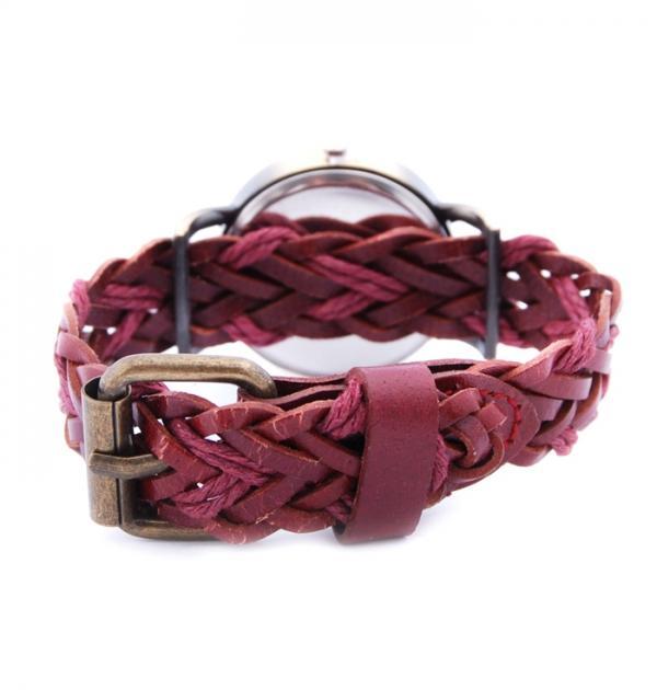 Плетен часовник - бордо