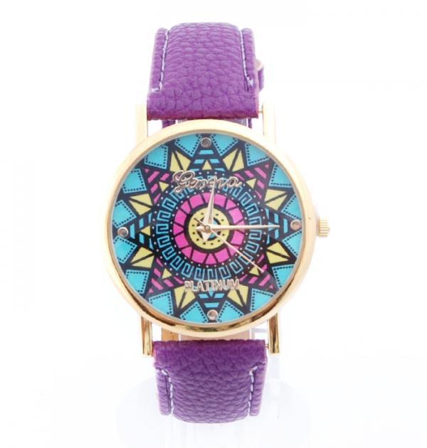 Лилав часовник с цветен циферблат