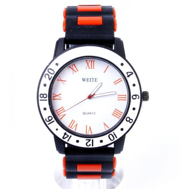 Черен часовник с оранжев кант