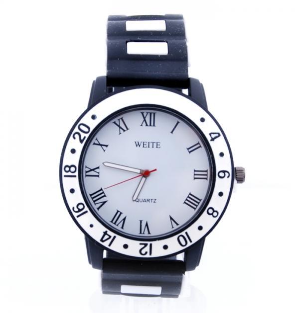 Черен часовник с бял кант