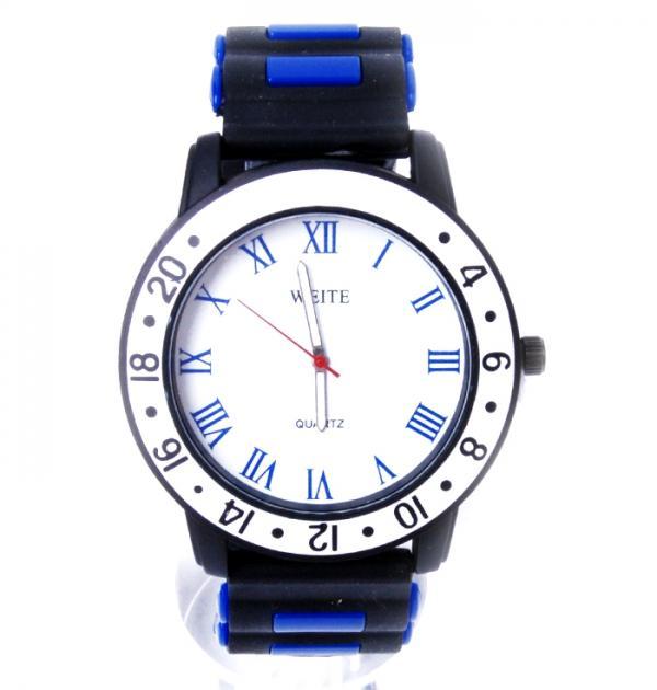 Черен часовник със син кант