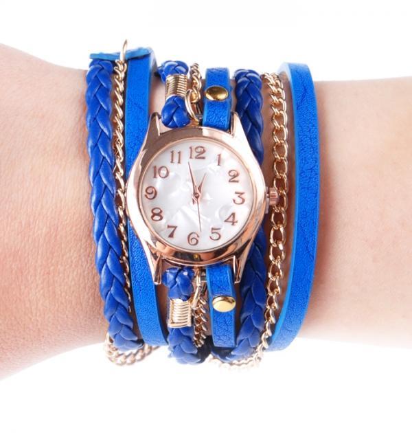 Син часовник-гривна със златна верижка