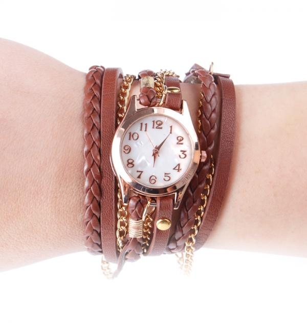 Кафяв часовник-гривна със златна верижка