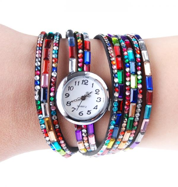 Цветен часовник-гривна в черно