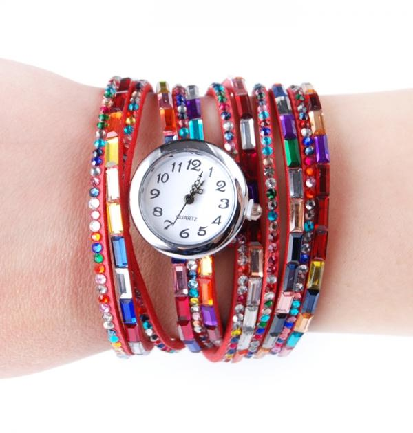 Цветен часовник-гривна в червено