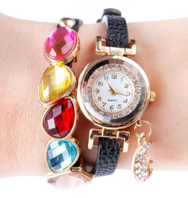 Черен часовник с цветни камъни