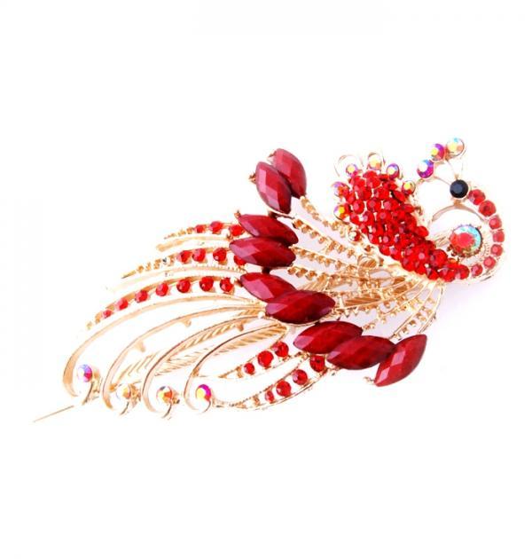 Шнола за коса с червени камъни