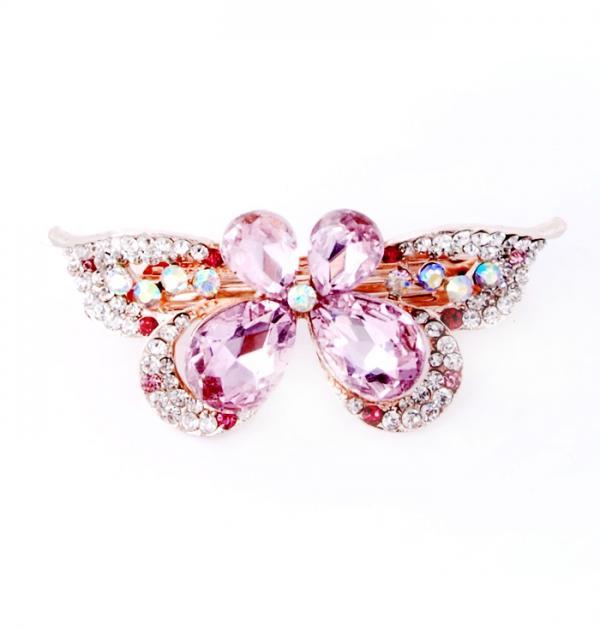 Шнола Пеперуда с розови камъни