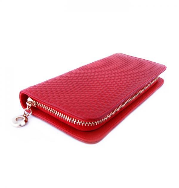 Червено портмоне с цип